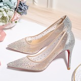 Women's Mesh Stiletto Heel Closed Toe Pumps With Crystal (047190328)