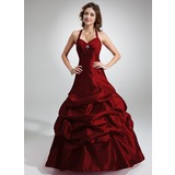 A-Line/Princess Halter Floor-Length Taffeta Quinceanera Dress With Ruffle Beading (021020766)