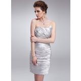 Sheath/Column Sweetheart Short/Mini Charmeuse Cocktail Dress With Ruffle Beading (016008718)