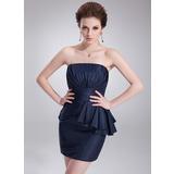 Платье-чехол Без лямок Мини-платье Тафта Коктейльные Платье с Ниспадающие оборки (016021274)