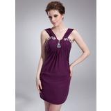 Платье-чехол V-образный Мини-платье шифон Коктейльные Платье с Рябь Бисер (016008575)