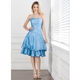 Vestidos princesa/ Formato A Sem Alças Coquetel Tafetá Vestido de madrinha com Pregueado (007001048)