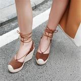 Женщины Натуральня кожа Вид каблука Сандалии Платформа Закрытый мыс Танкетка с Шнуровка обувь (116209466)