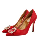 Women's Suede Stiletto Heel Closed Toe Pumps With Crystal (047190319)