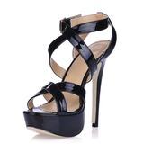Лакированная кожа Высокий тонкий каблук Сандалии Платформа Босоножки с пряжка обувь (087016465)