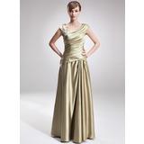 Vestidos princesa/ Formato A Decote V Longos Charmeuse Vestido para a mãe da noiva com Pregueado Bordado (008006308)
