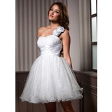 Vestidos princesa/ Formato A Um ombro Coquetel Organza de Vestido de boas vindas com Pregueado fecho de correr (022020978)