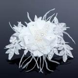Elegante Renda/Cetim Flores & penas (042052164)