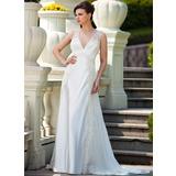 Vestidos princesa/ Formato A Decote V Cauda de sereia De chiffon Charmeuse Vestido de noiva com Pregueado Renda Bordado (008024572)