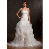 Gala-Japon Strapless Kapel sleep Organza Galajurk met Roes Kralen Applicaties Kant Split Voorzijde (018015057)