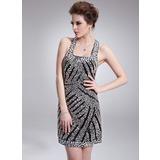 Платье-чехол квадратный вырез Мини-платье Шармёз Коктейльные Платье с Бисер блестками (016008378)