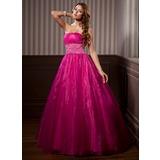 Платье для Балла Без лямок Длина до пола Органза Пышное платье с Рябь Бисер (021014267)