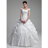 De baile Sem o ombro Sweep/Brush trem Tafetá Vestido de noiva com Pregueado Bordado Lantejoulas (002012899)