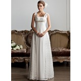 A-Line/Princess Square Neckline Sweep Train Chiffon Lace Wedding Dress With Ruffle Beading (002013801)