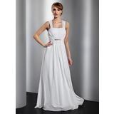 Vestidos princesa/ Formato A Longos De chiffon Vestido de festa com Pregueado Bordado Curvado (017014832)