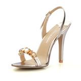 Женщины Лакированная кожа Высокий тонкий каблук Сандалии Босоножки с горный хрусталь обувь (087016473)