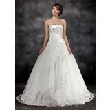 De baile Coração Sweep/Brush trem Charmeuse Tule Vestido de noiva com Pregueado Bordado Apliques de Renda (002017430)