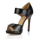 Лакированная кожа Высокий тонкий каблук Сандалии Открытый мыс с пряжка обувь (085016993)