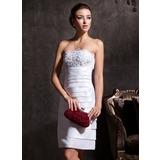 Sheath/Column Strapless Knee-Length Taffeta Wedding Dress With Lace Beading (002011535)