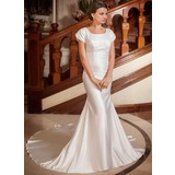Trumpet/Mermaid Square Neckline Chapel Train Satin Wedding Dress With Ruffle Lace Beading (002001668)