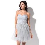 Vestidos princesa/ Formato A Coração Curto/Mini Tule Vestido de boas vindas com Bordado Apliques de Renda Babados em cascata (022025385)