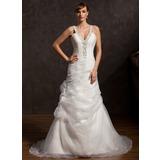 Трапеция/Принцесса V-образный Церемониальный шлейф Органза Свадебные Платье с Рябь Бисер (002015174)