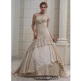 Платье для Балла Без лямок Церковный шлейф Атлас Свадебные Платье с Рябь Булавка с хрустальным цветком блестками (002011382)