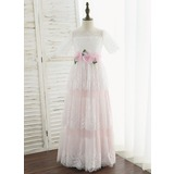 A-Line Floor-length Flower Girl Dress - Tulle/Lace Short Sleeves Scoop Neck With Flower(s) (010172364)