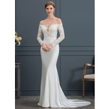 Trompete/Sereia Off-the-ombro Cauda de sereia Jersey Vestido de noiva (002171960)