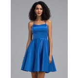 A-Line Square Neckline Short/Mini Satin Homecoming Dress (022203148)