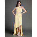 Vestidos princesa/ Formato A Um ombro Assimétrico De chiffon Vestido de Férias com Pregueado Bordado Apliques de Renda (020015683)