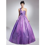 Ball-Gown One-Shoulder Floor-Length Taffeta Quinceanera Dress With Ruffle Beading (021015126)