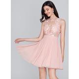 Vestidos princesa/ Formato A Decote redondo Curto/Mini Tecido de seda Vestido de boas vindas (022124837)