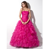 Ball-Gown Strapless Floor-Length Organza Quinceanera Dress With Cascading Ruffles (021020809)