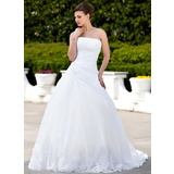 Ball-Gown Strapless Chapel Train Satin Organza Wedding Dress With Lace Beading (002000135)