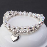 Heart Shaped Crystal Copper With Imitation Crystal Fashion Bracelets (Sold in a single piece) (137199705)