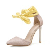 Women's Sparkling Glitter Stiletto Heel Sandals Pumps With Lace-up shoes (085157141)