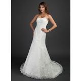 Trompete/Sereia Coração Cauda longa Tule Vestido de noiva com Pregueado Bordado Apliques de Renda (002000493)