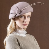 Ladies' Glamourous/Vintage Wool With Feather Beret Hat (196178759)