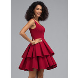 A-Line V-neck Short/Mini Stretch Crepe Homecoming Dress With Cascading Ruffles (022203115)