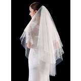 Four-tier Cut Edge/Lace Applique Edge Fingertip Bridal Veils With Lace (006201029)