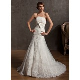 A-Lijn/Prinses Strapless Hof sleep Organza Bruidsjurk met Applicaties Kant Strik(ken) (002014958)