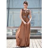 Vestidos princesa/ Formato A Decote redondo Sweep/Brush trem Tecido de seda Vestido para a mãe da noiva com Pregueado Beading lantejoulas (008018942)