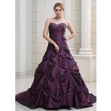 Платье для Балла В виде сердца Церковный шлейф Тафта Свадебные Платье с Рябь Бисер (002000503)