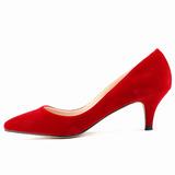 Женщины Замша Круглый зауженный каблук На каблуках Закрытый мыс обувь (085113498)
