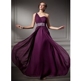 A-Line/Princess One-Shoulder Floor-Length Chiffon Prom Dresses With Ruffle Beading (018004882)