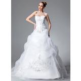 De baile Amada Cauda longa Cetim Organza de Vestido de noiva com Bordados Pregueado Beading lantejoulas (002004178)