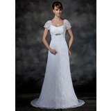 Empire Scoop Neck Court Train Lace Wedding Dress With Beading (002000214)
