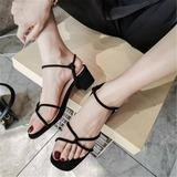 Женщины бархат Устойчивый каблук Сандалии На каблуках с пряжка обувь (087209080)