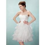 Vestidos princesa/ Formato A Coração Coquetel Organza de Vestido de boas vindas com Babados em cascata (022020853)
